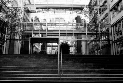 Black and white image of a building shot on 35mm film.