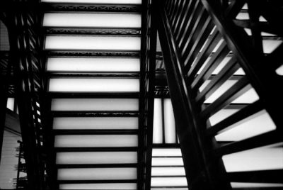 Black and white image of stairs shot on 35mm film.