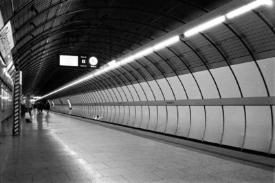 Black and white image of an underground station shot on 35mm film.